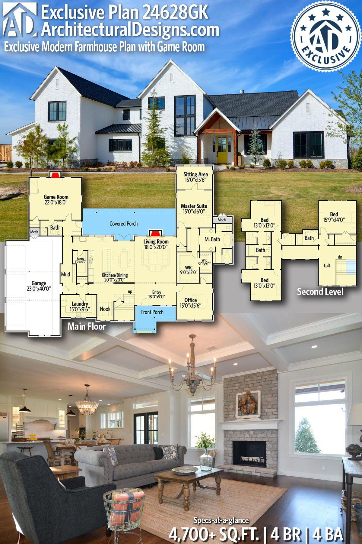 Plan 24628gk Exclusive Modern Farmhouse Plan With Game Room Modern Farmhouse Plans House Plans Farmhouse Farmhouse Plans