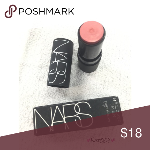 NARS Lip and Cheek Color - Anguilla. - Brand New in box. - Never used. - Can be applied dry or wet. - 0.26 oz. - 🚫 trades. - Price Firm.  * Box has a make up stain over UPC code.            - Note in pic small indentation in middle is from the inside cover. NARS Makeup Lip Balm & Gloss