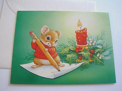 Unused vintage christmas card current inc cute mouse writing letter unused vintage christmas card current inc cute mouse writing letter by candle m4hsunfo