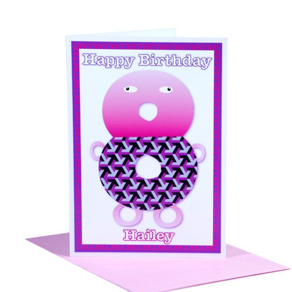 Unique happy birthday card for 8 year old girls by stuartconcepts on items similar to age 8 unique happy birthday card for girls personalised name number eight 8th character pinks inside message greeting and envelope options bookmarktalkfo Images