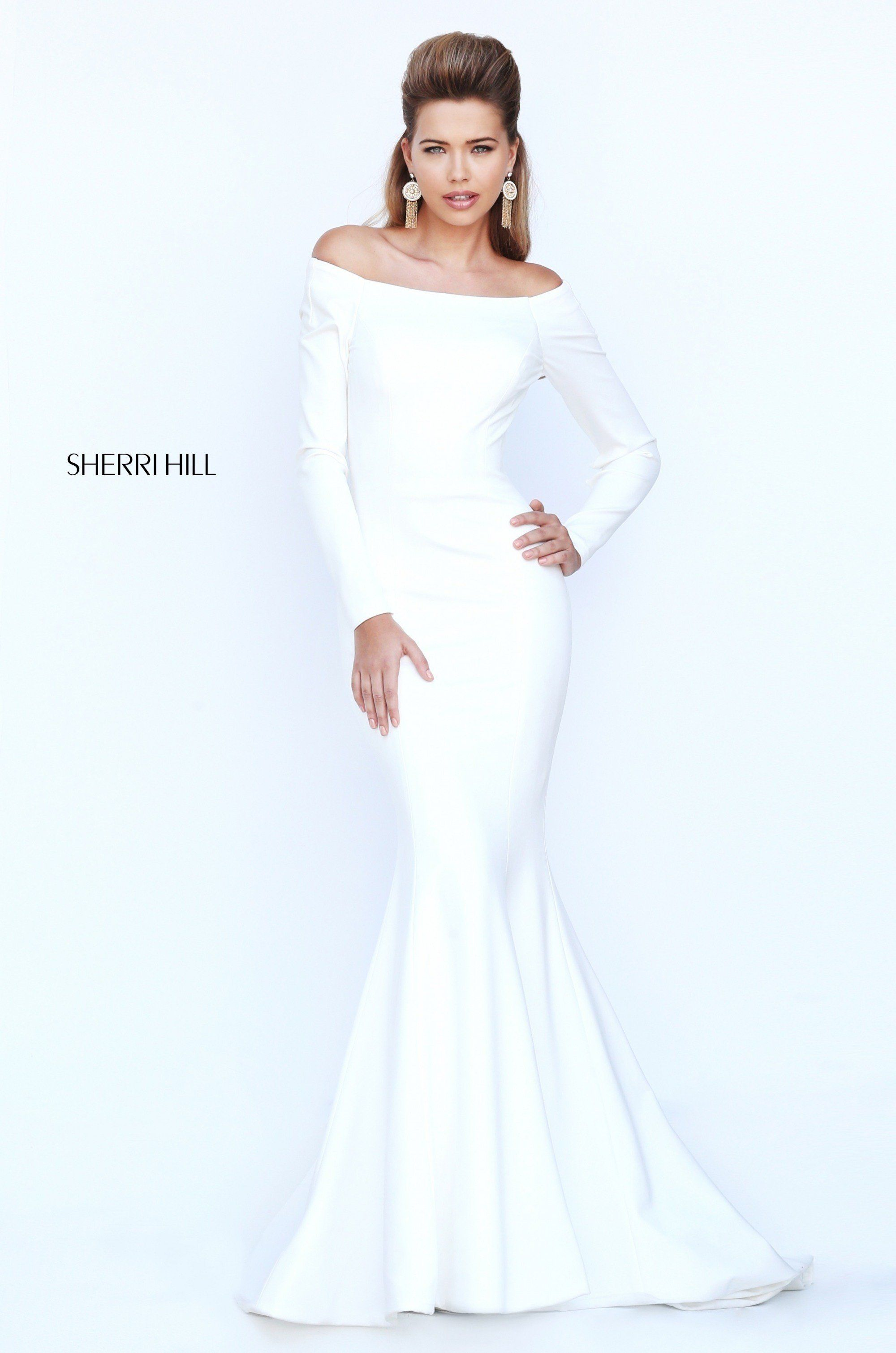 Sherri Hill 52511 Off The Shoulder Long Sleeve Ivory Dress Prom Dresses Long With Sleeves Ivory Evening Gowns Satin Evening Dresses [ 3018 x 2000 Pixel ]