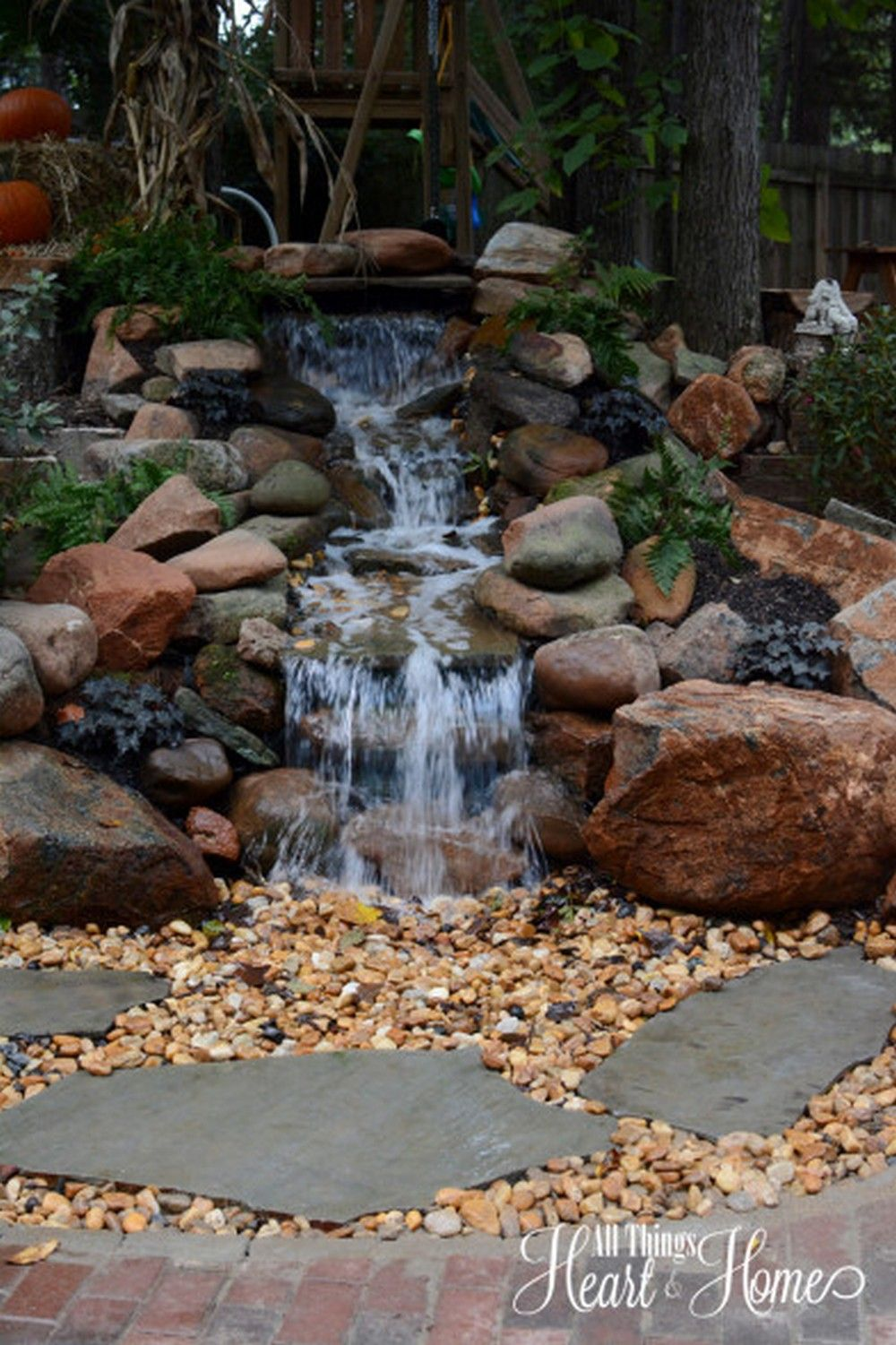 30 DIY Garden Pond Waterfall for Your Back Yard | Pond waterfall ...