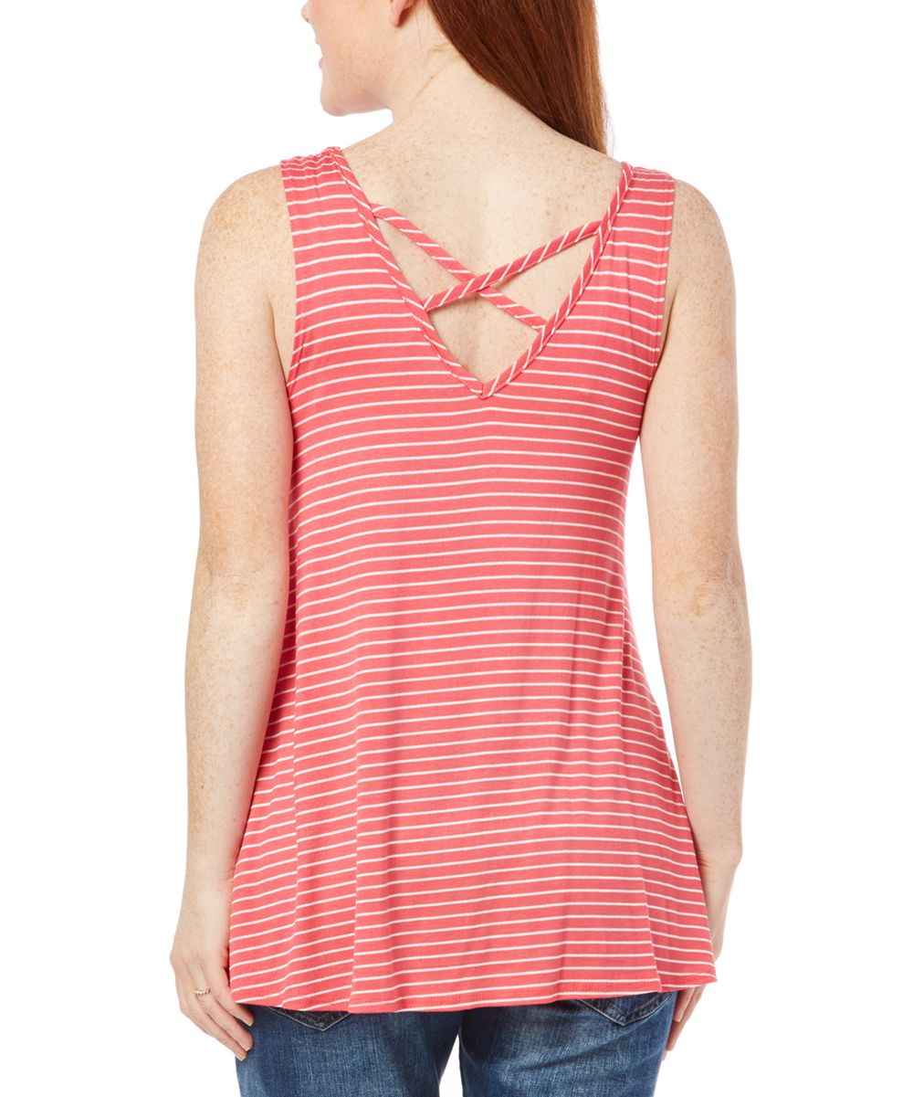 Due Time Coral & Off-White Stripe Crisscross-Back Maternity Tank