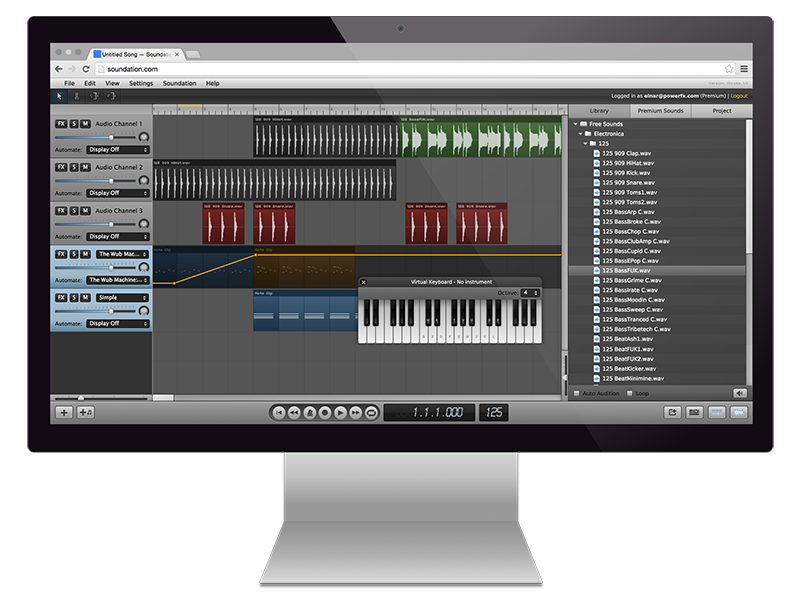 Soundation is a powerful online music studio with