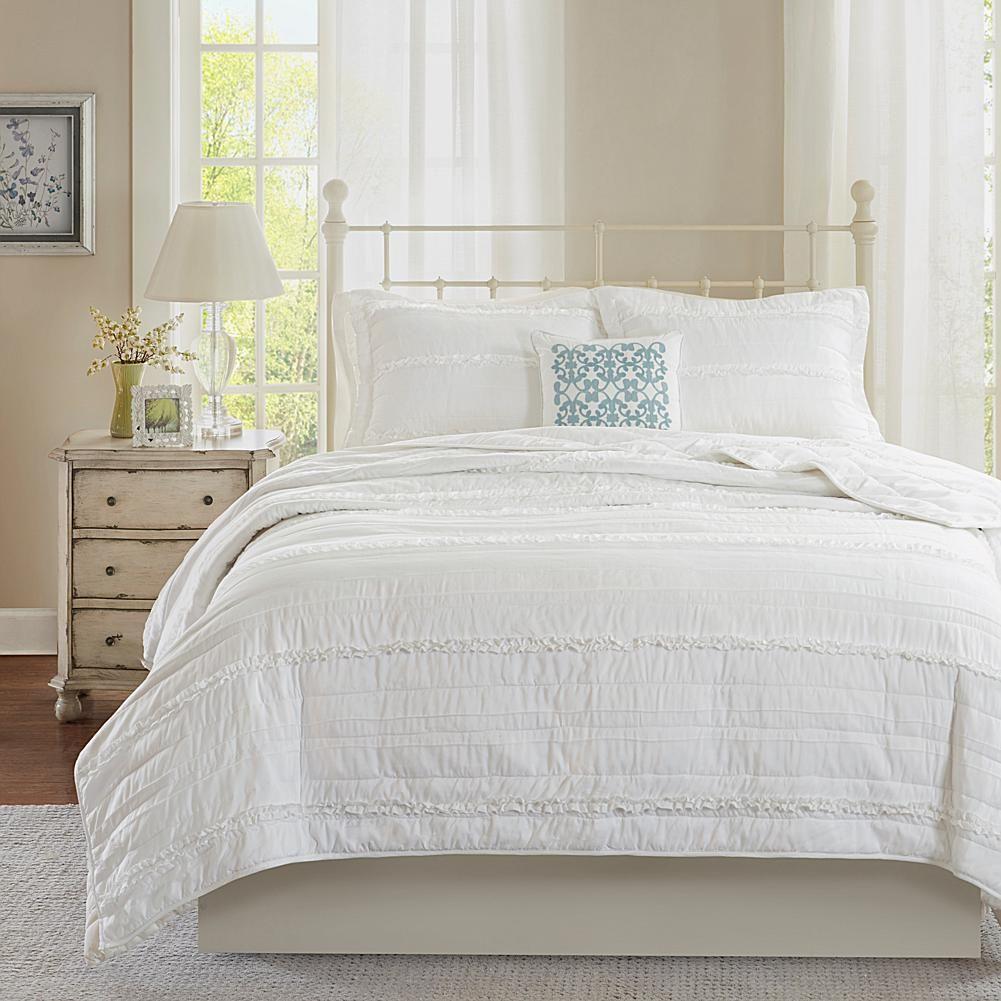 Madison Park Apartments California: Madison Park Celeste White 4-Piece Coverlet Set