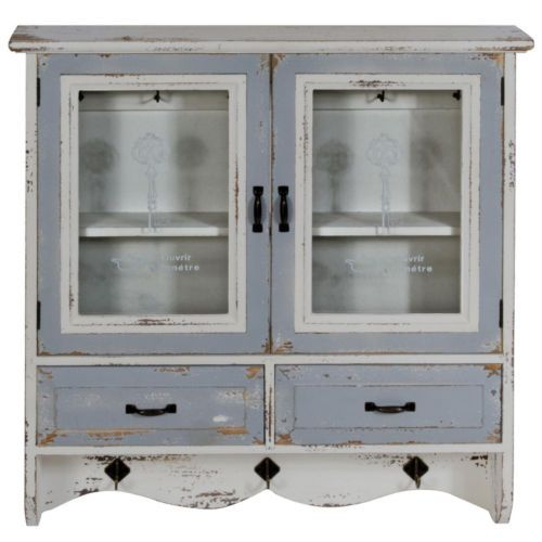 Kitchen Wall Mount Cabinet Shabby Chic Distressed Doors Drawers Shelves Cupboard Wood Storage Cabinets Wall Storage Unit Wall Storage
