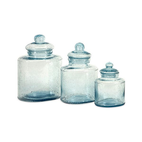Imax Cyprus Blue Glass Canister Set Of Three $109 ❤ Liked On Stunning Glass Kitchen Containers Design Ideas