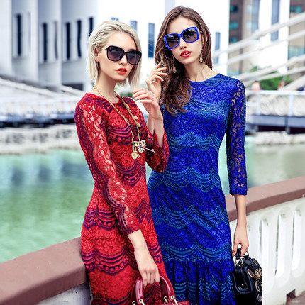 PRASE女装2016春装新款修身显瘦蕾丝鱼尾包臀裙子蕾丝条纹连衣裙