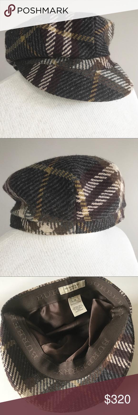 Burberry wool brown plaid newsboy cabbie cap hat M Burberry London cap hat  size medium Authentic fd4039da610d