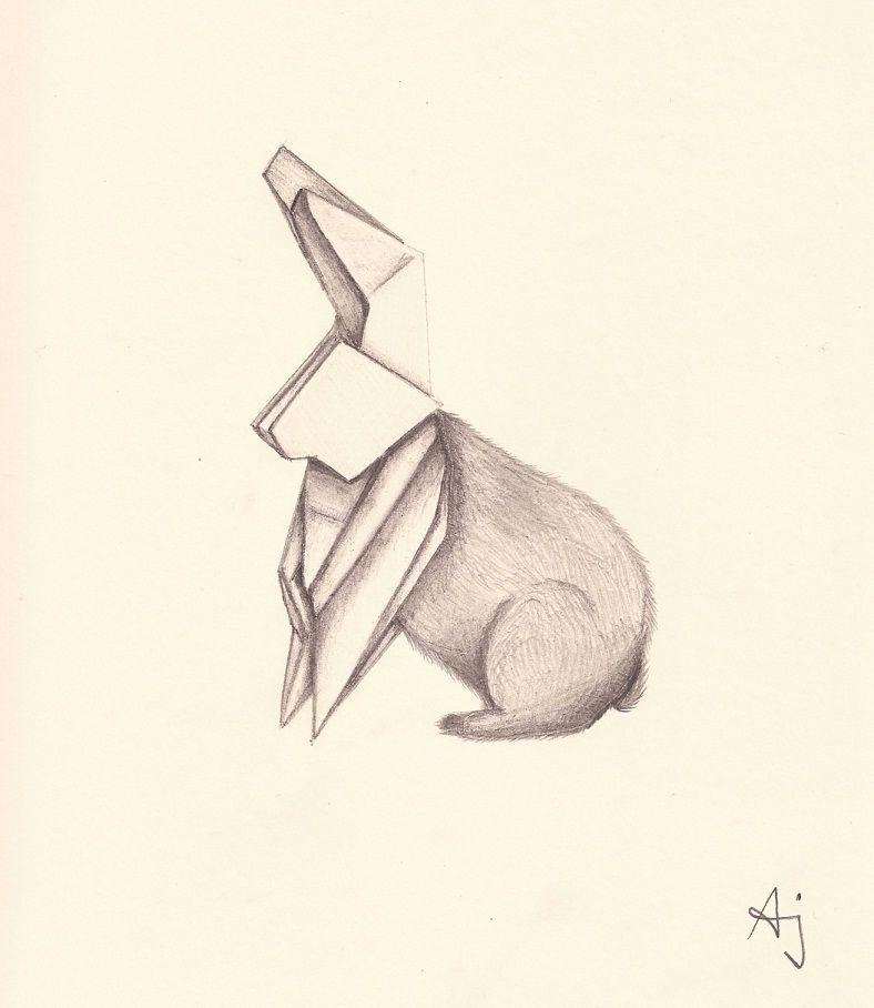 Photo of bunny, origami, origami bunny, origami rabbit, pencil, pencil drawing