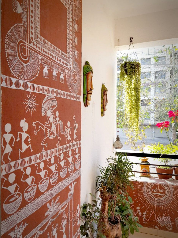 Warli painting on balcony wall flowers in 2019 wall garden