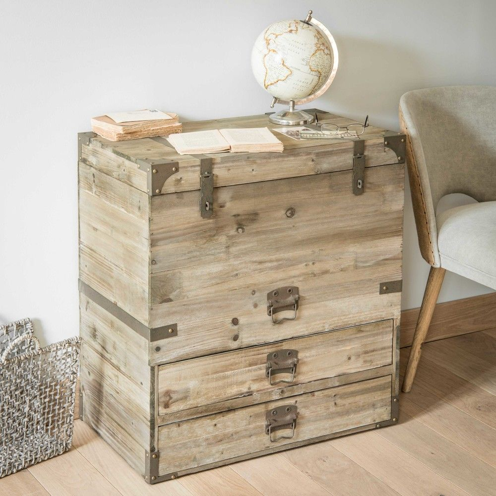 Malle Bar Maison Du Monde wooden trunk w 70cm | industrial home design, wooden trunks