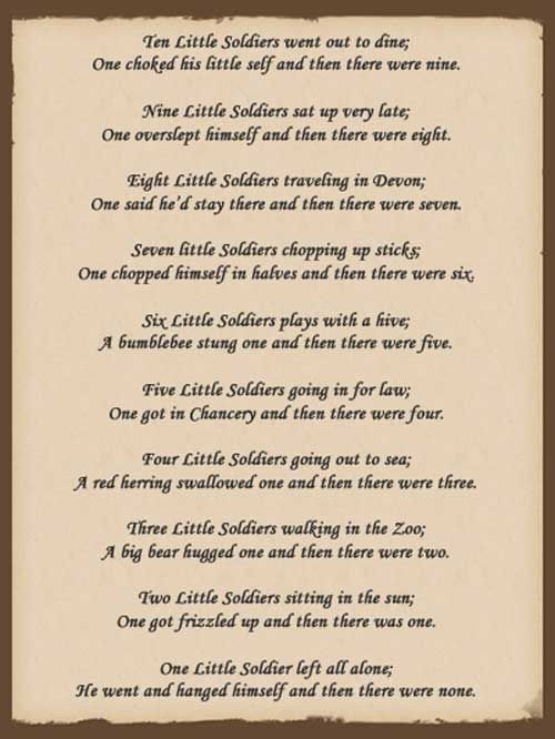 deception in and then there were none ten little indians by agatha christie Start studying and then there were none by agatha christie learn vocabulary, terms, and more with flashcards, games, and other study tools  ten little indians .