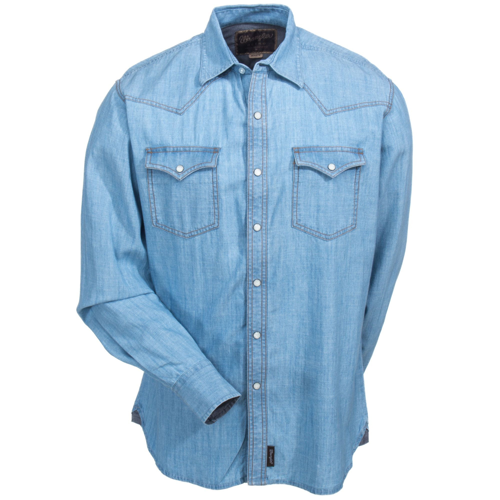 Wrangler Men's MVR277D Long Sleeve Retro Solid Light Indigo Western Shirt