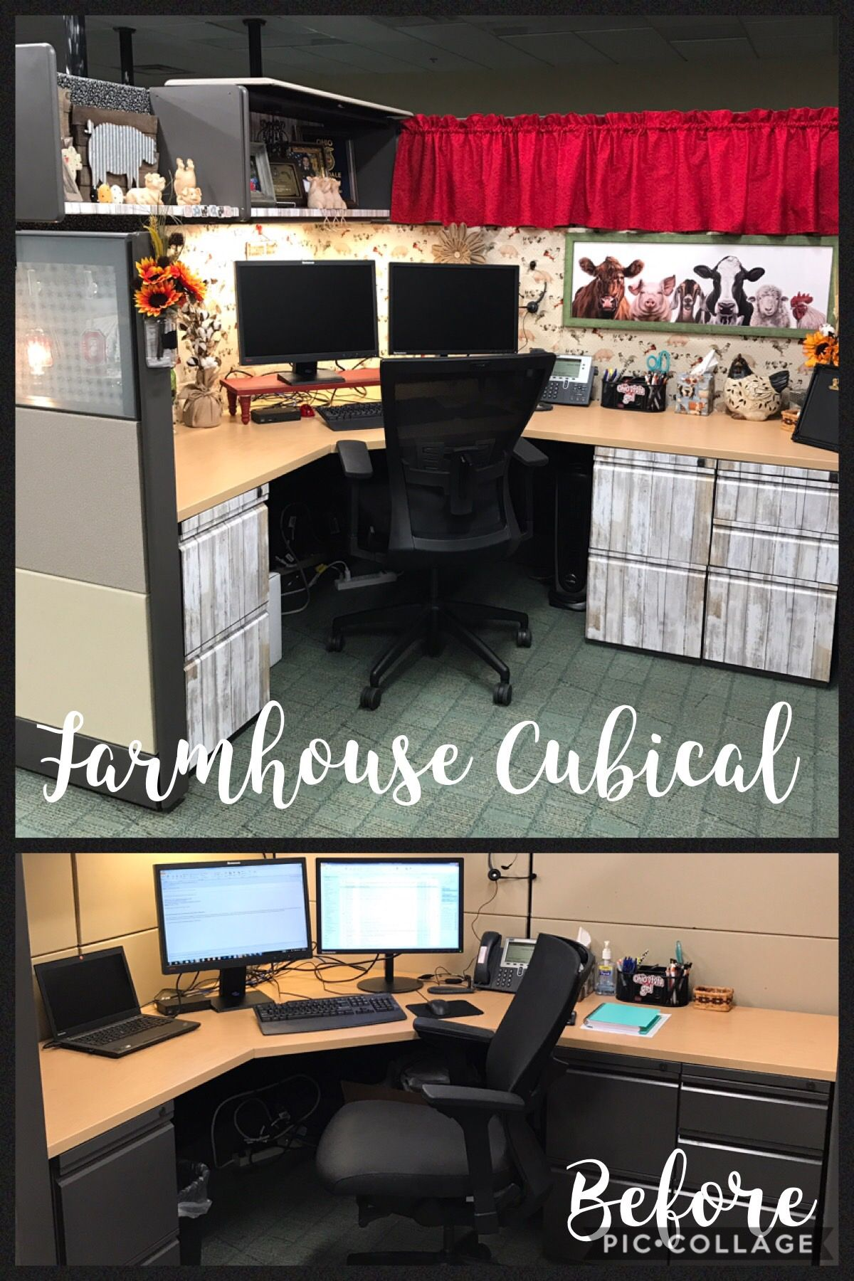 Farmhouse cubicle makeover Cubicle Makeover Pinterest