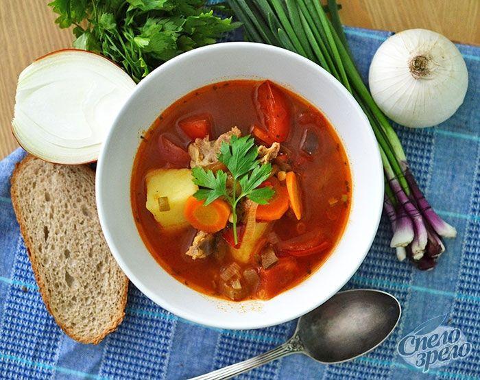 Рецепт: Суп-гуляш с говядиной. Густой согревающий суп ...