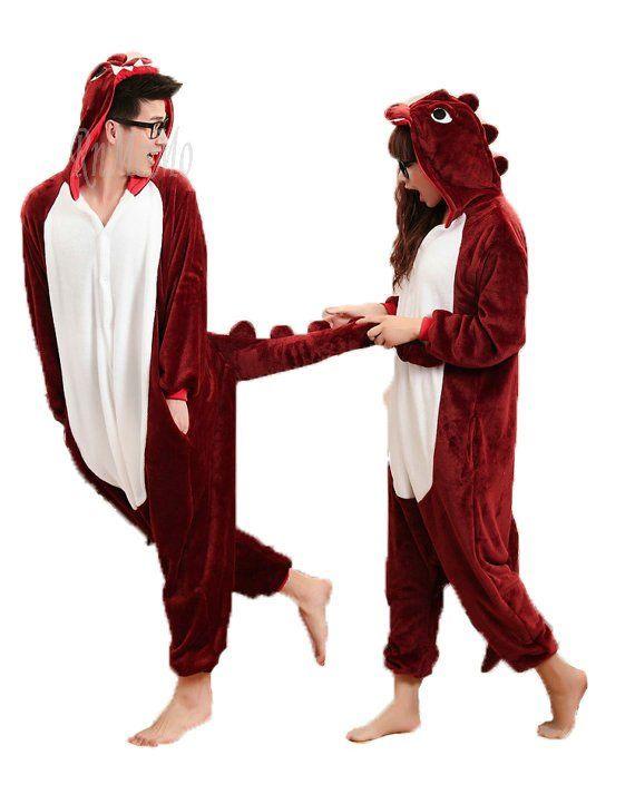 df35ae2a1 Kigurumi red Dinosaur Pajamas in 2019