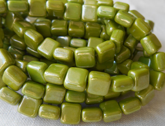 25 Czech glass opaque pistachio green luster by GloriousGlassBeads