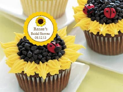 SUNFLOWER Wedding Bridal Baby Shower Cupcake Toppers Decorations