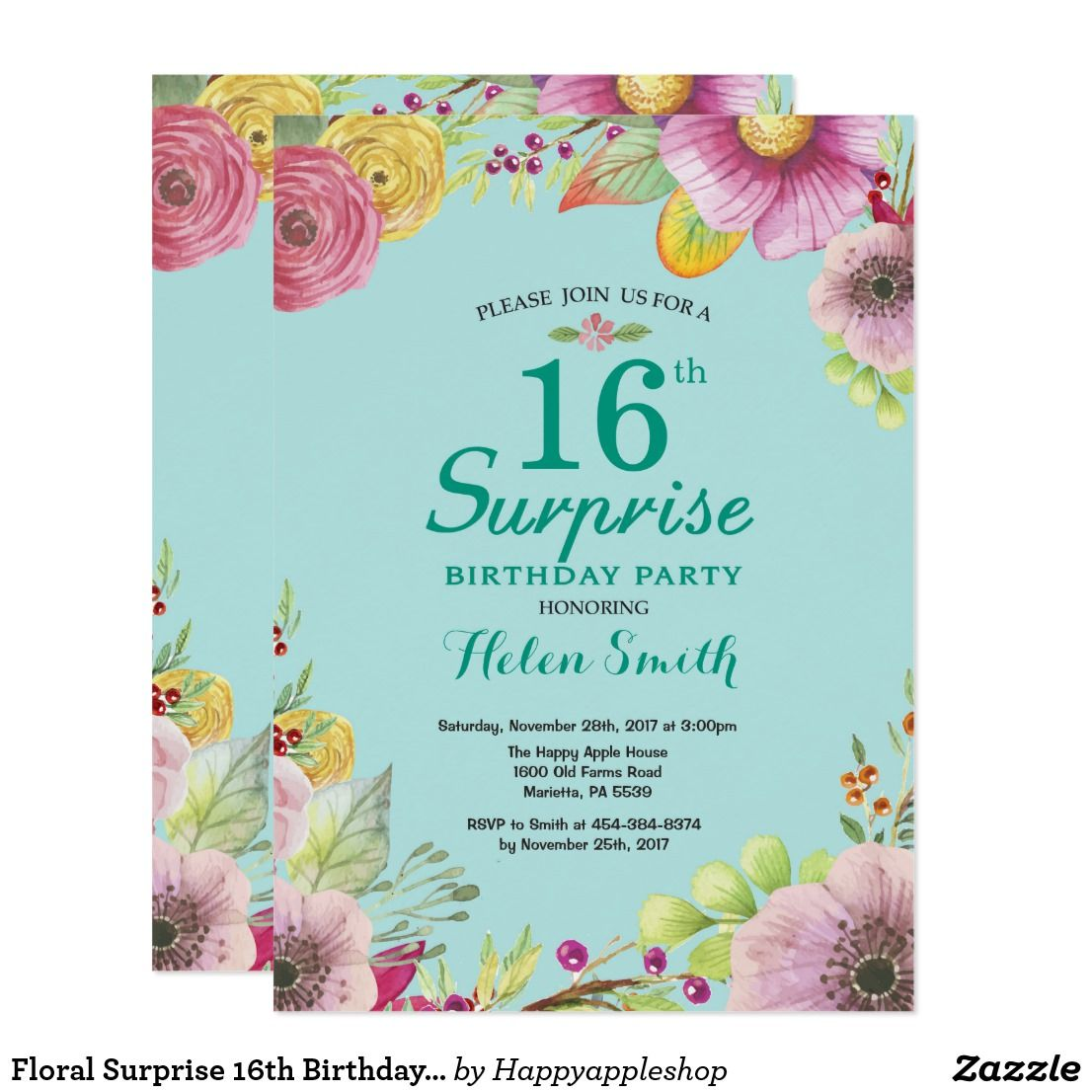 Floral Surprise 16th Birthday Invitation Teal For Women Watercolor Aqua Turquoise Background