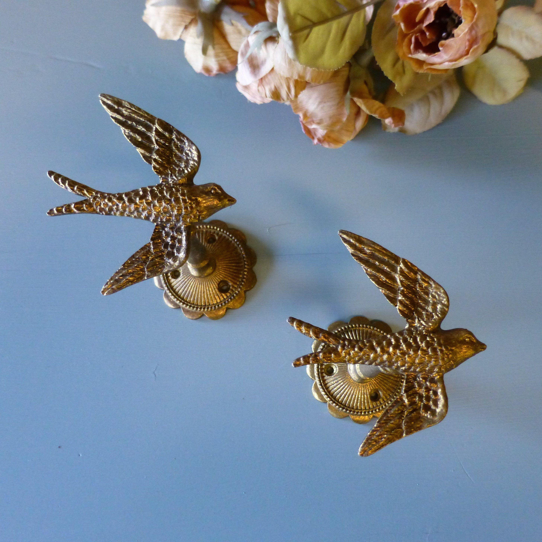 Pair Gold Bird Fancy Drapery Tie Backs Vintage Brass Pretty Bird