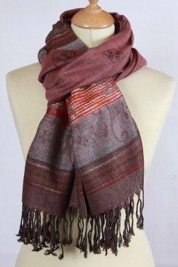 3b93d74a525e Foulard ethnique rose en coton et viscose   Foulard Femme ...