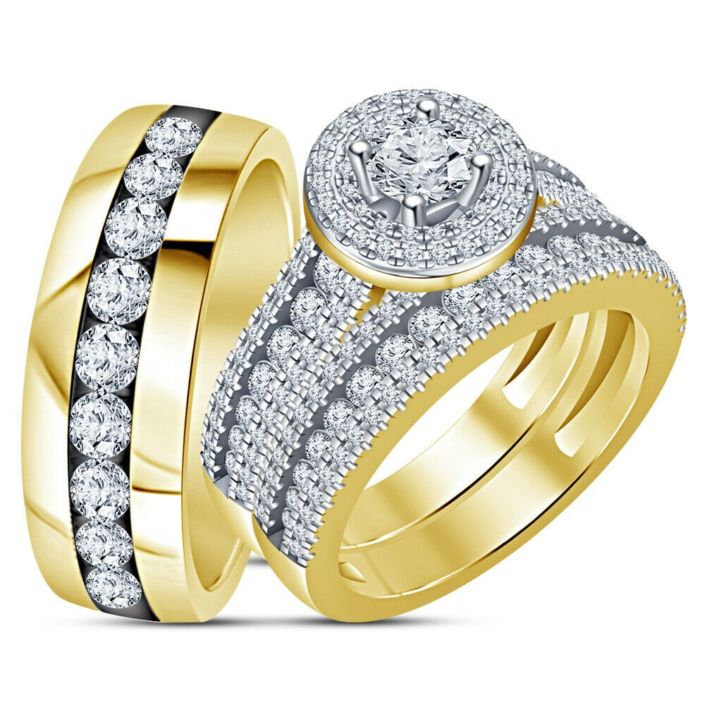 14k yellow gold fn trio set his and hers diamond