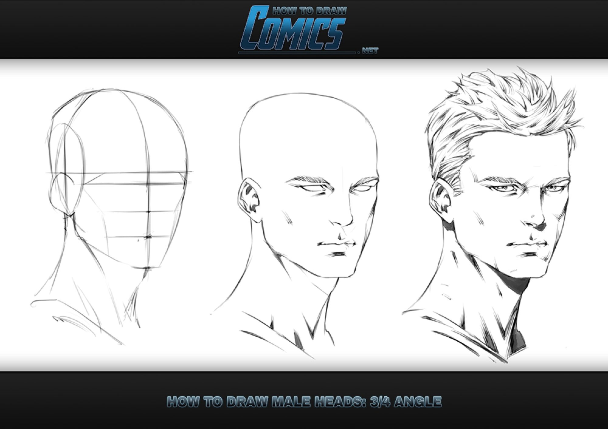 How To Draw Male Heads 3 Quarter Angle Guy Drawing Human Drawing Comic Drawing
