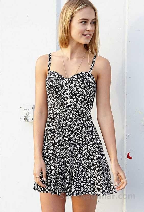 5f6f4ec5ea8a4 2018 Yazlık Elbise Modelleri Siyah Kısa Askılı Beyaz Çiçek Desenli Elbise
