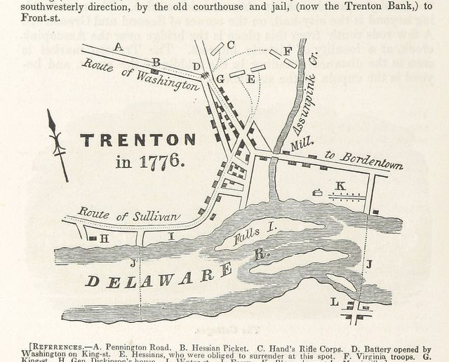 Map of Trenton in 1776 showing Washingtons route in attacking