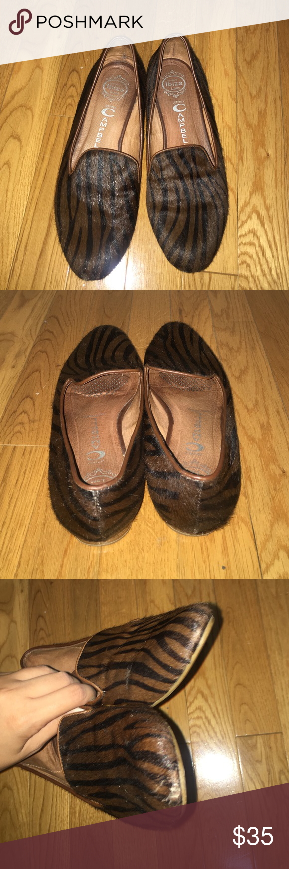 Jeffrey Campbell pony hair smoking flats Great pair of smoking flats. Pony hair. Size 7.5. Only sign of wear on the front but can't tell when wearing as shown in pictures Jeffrey Campbell Shoes Flats & Loafers