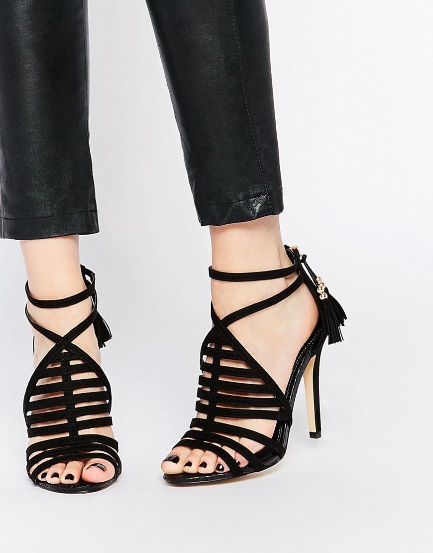Image 1 of Lipsy Esme Black Caged Heeled Sandals