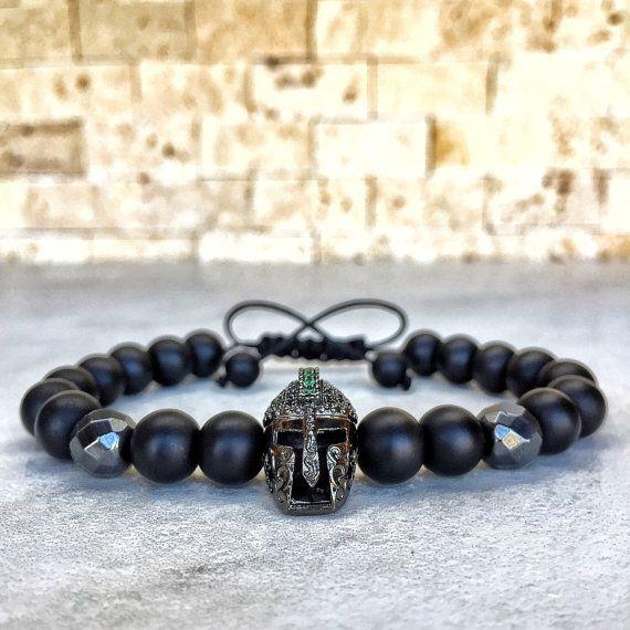 Mens Spartan Bracelet Onyx Knight For Men Helmet Gladiator