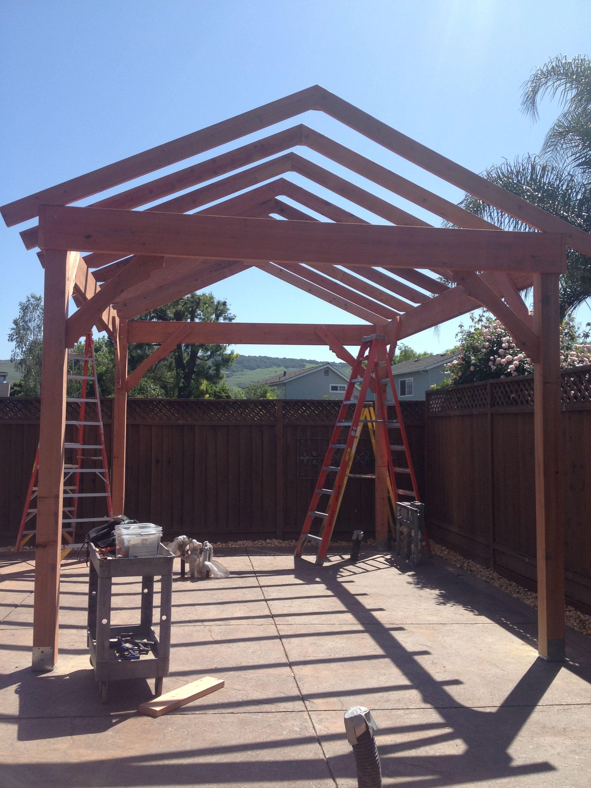 Gazebo with gable roof built in 3 days diy backyard for Built in gazebo