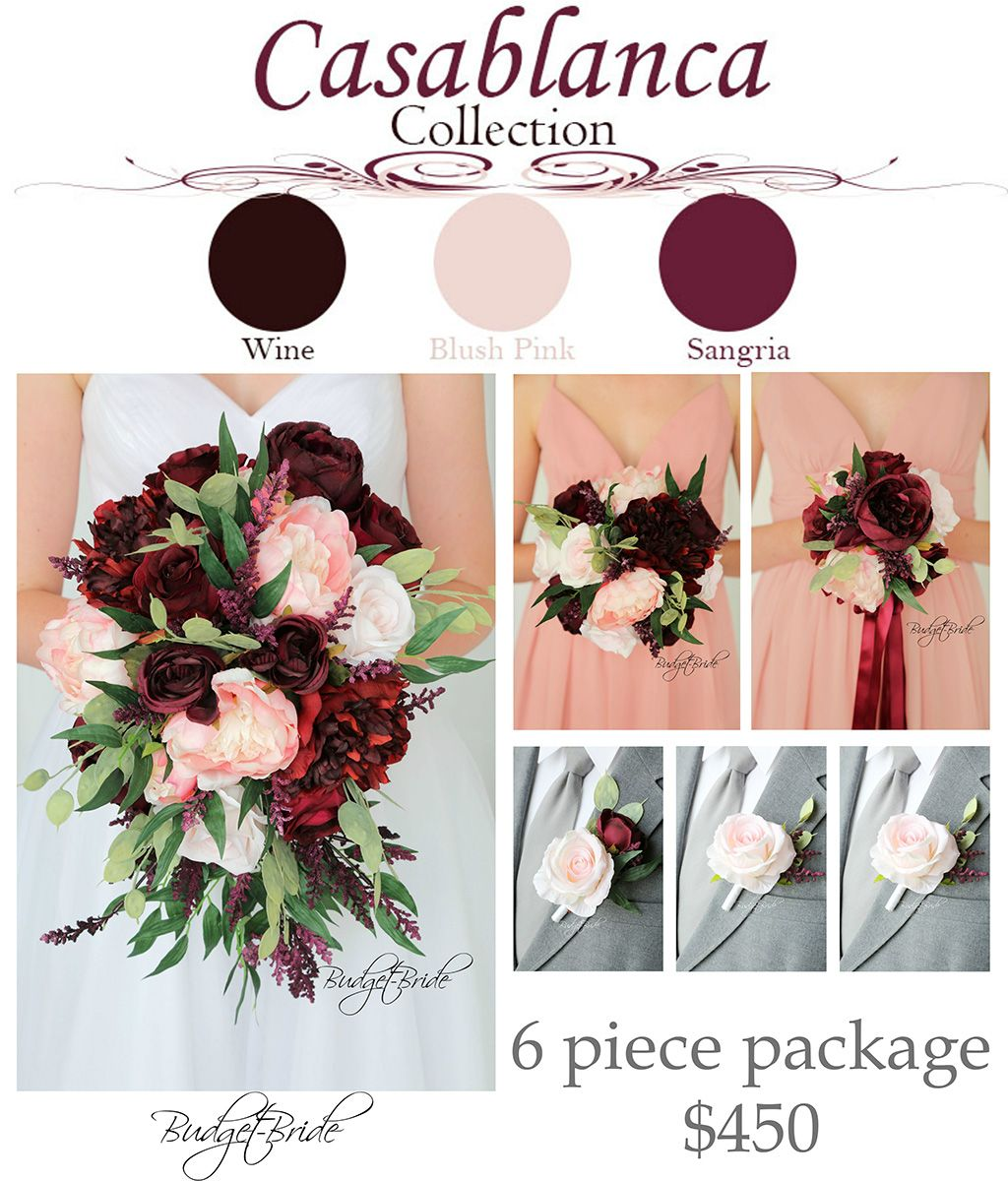 wine marsala and blush pink wedding flowers cascading