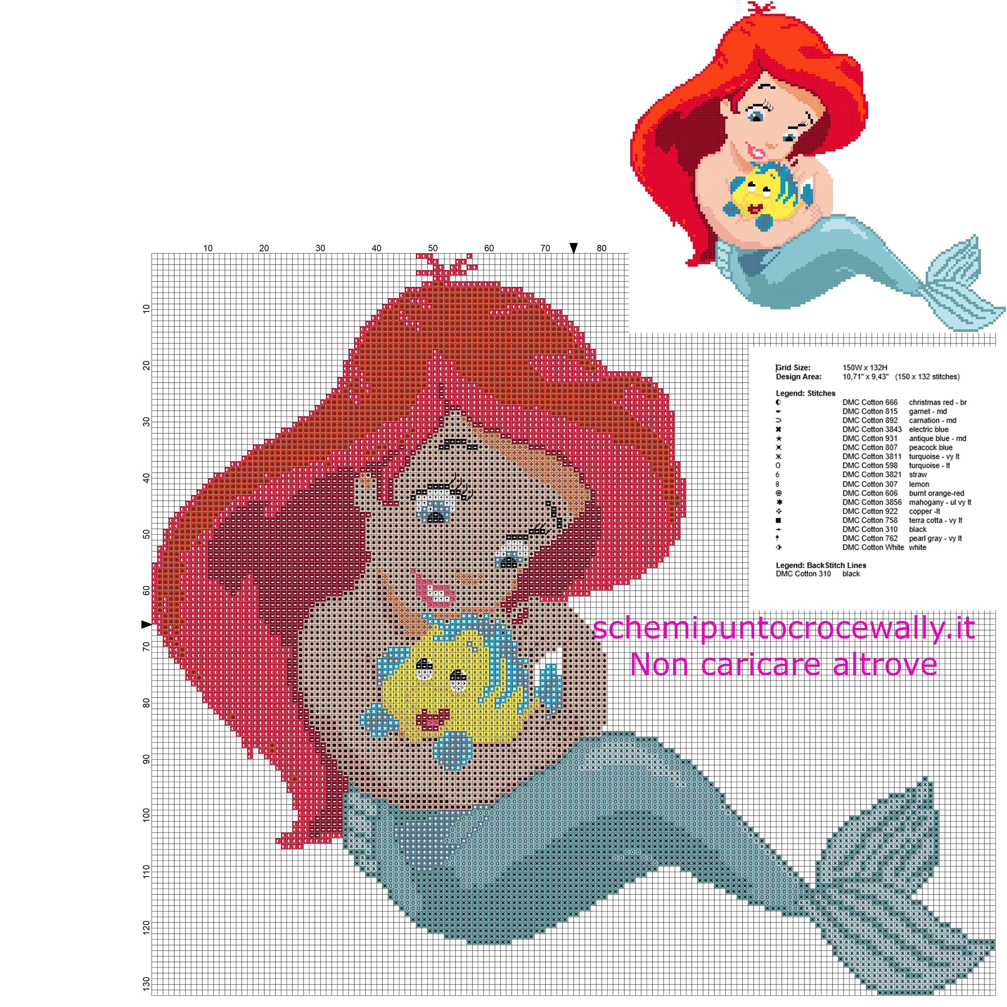 La baby principessa ariel la sirenetta schema punto croce for Schemi a punto croce gratis
