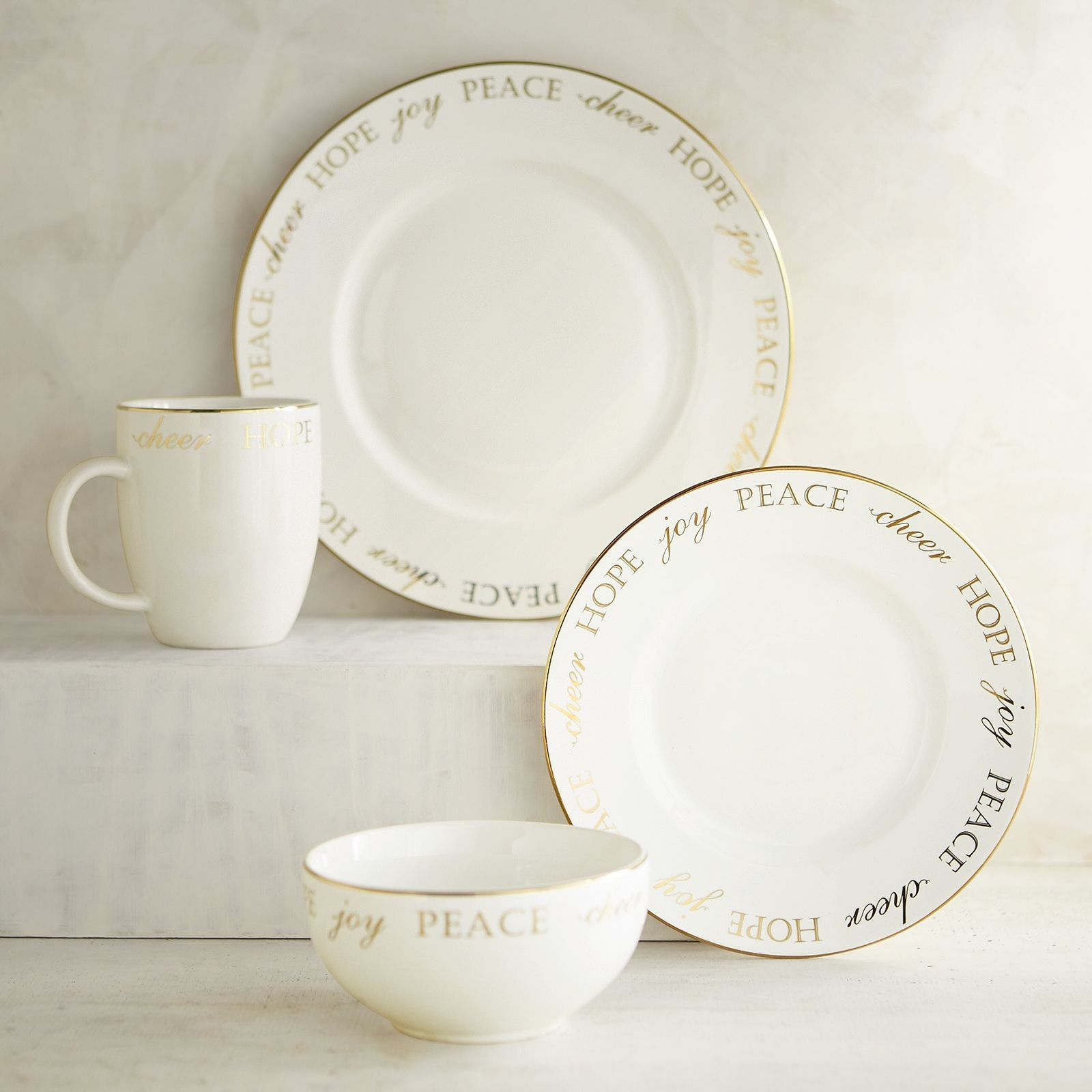 Our holiday dinnerware set has a lot to sayu2014delicate seasonal words that trim the & Our holiday dinnerware set has a lot to sayu2014delicate seasonal words ...