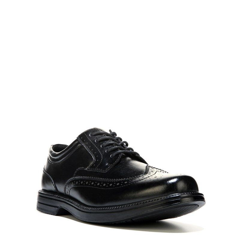 Mens Nu Journal MediumWide Memory Foam Wing Tip Oxford Black Leather Online Shopping