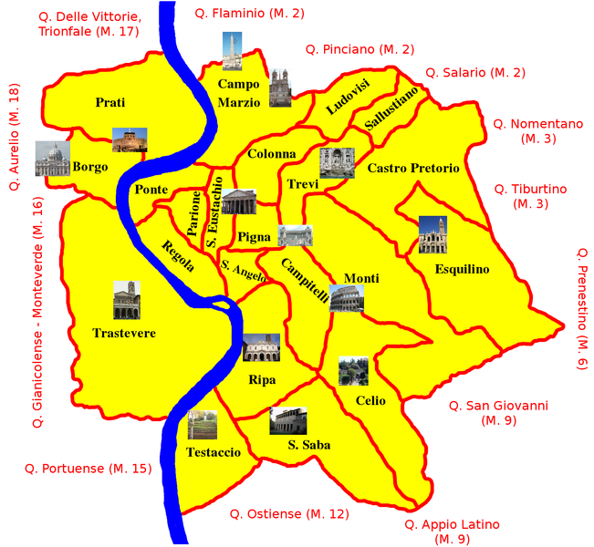 Rome neighborhood map Maps of Rome and Vatican City Pinterest