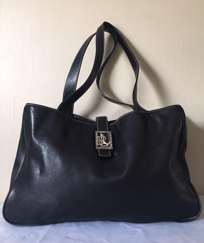 Lauren Ralph Lauren Purse Womens Black Leather Satchel Tote Bag ... 4a6d97e6c5