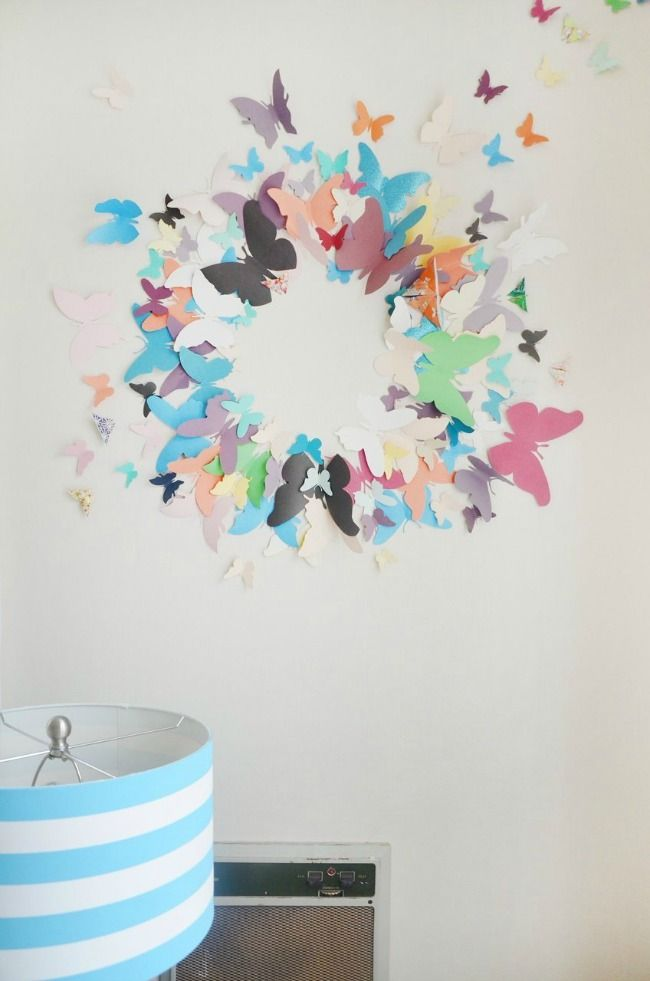 Paredes decoradas con mariposas de papel ideas para el for Papel decorativo para pared