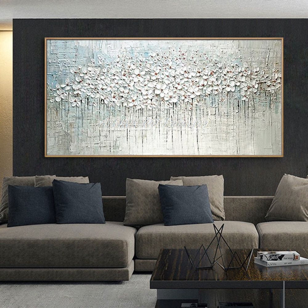 Hand Painted Thick Palette Knife Flower Oil Painting On Canvas Abstrac Sall Abstract Wall Painting Abstract Wall Painting Living Rooms Oil Painting On Canvas #oil #painting #living #room