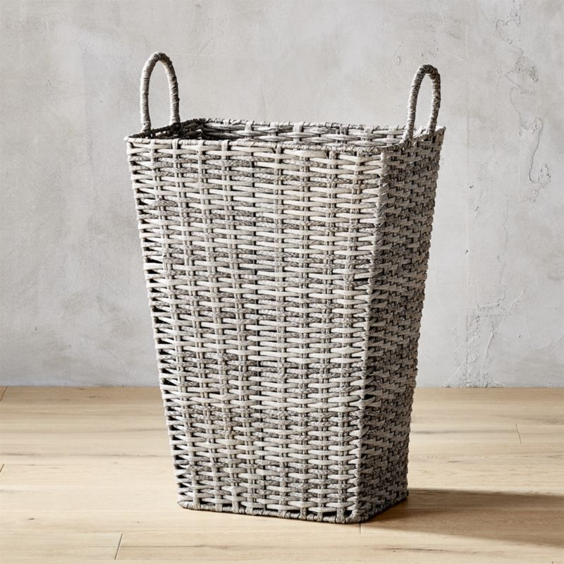 Tall Plastic Laundry Basket Inspiration Cb2 Sydney Grey Hamper  Hamper Sydney And Laundry Decorating Inspiration