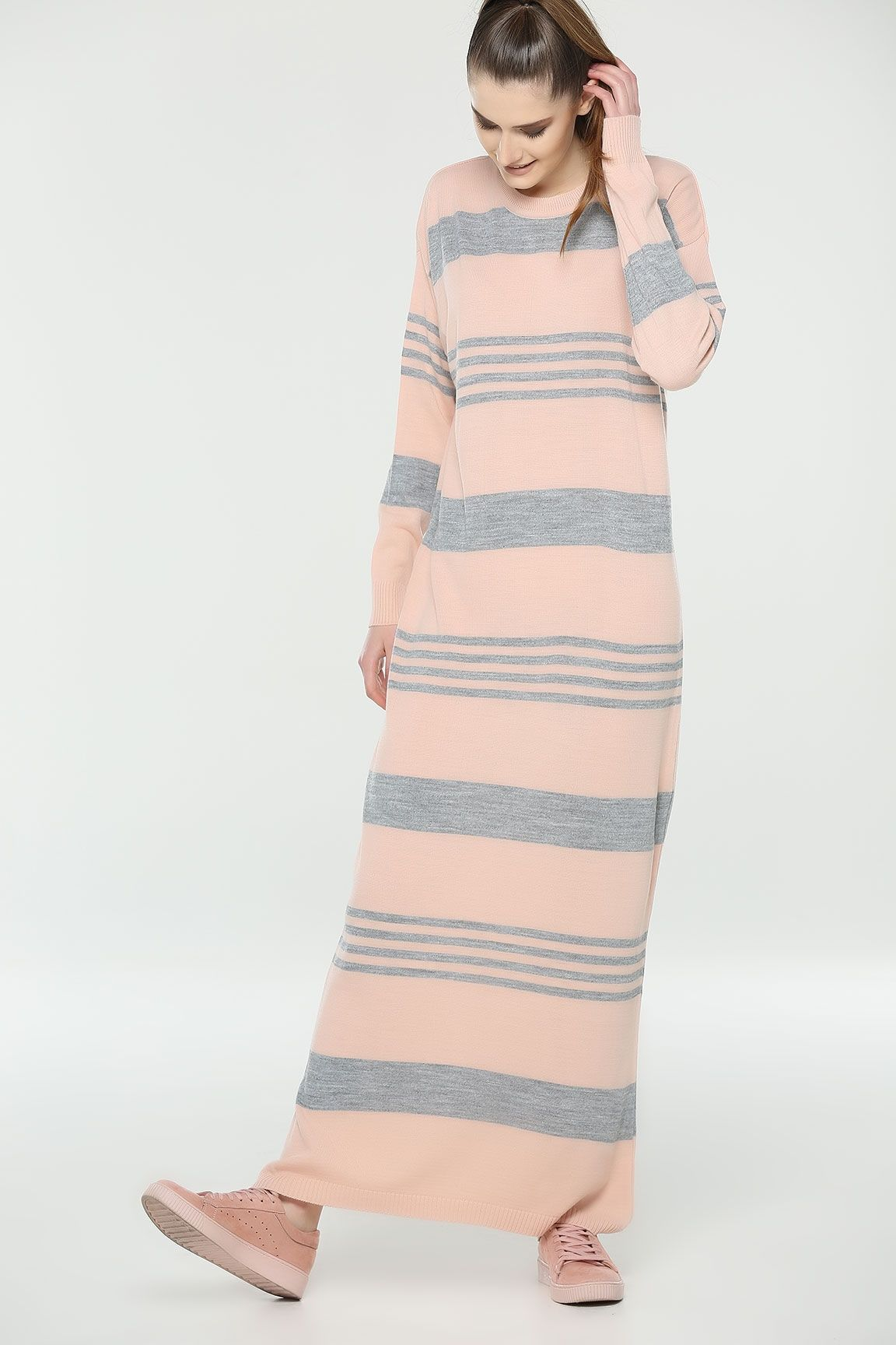 Pudra Cizgili Triko Elbise Elbise Triko Giyim