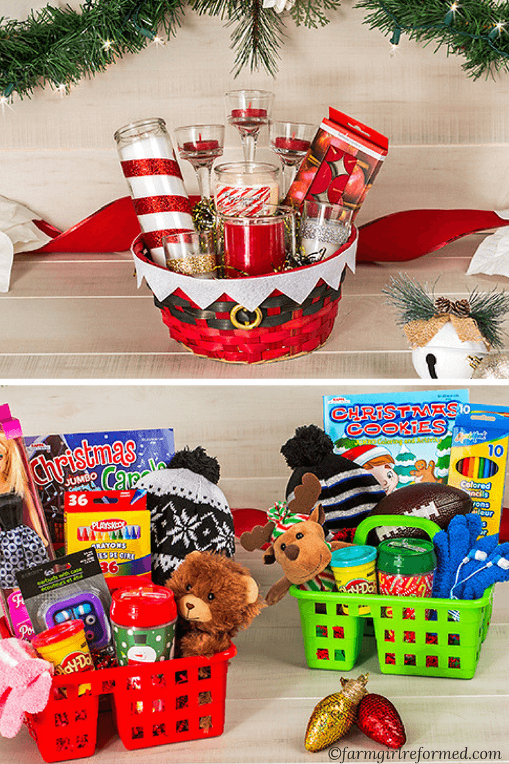 Dollar Tree Gift Basket Guide Farm Girl Reformed Dollar Tree Gifts Christmas Gift Baskets Diy Diy Christmas Gifts Cheap