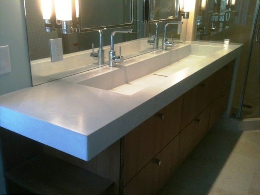 Bathroom Endearing Trough Bathroom Sink With Two Faucets White