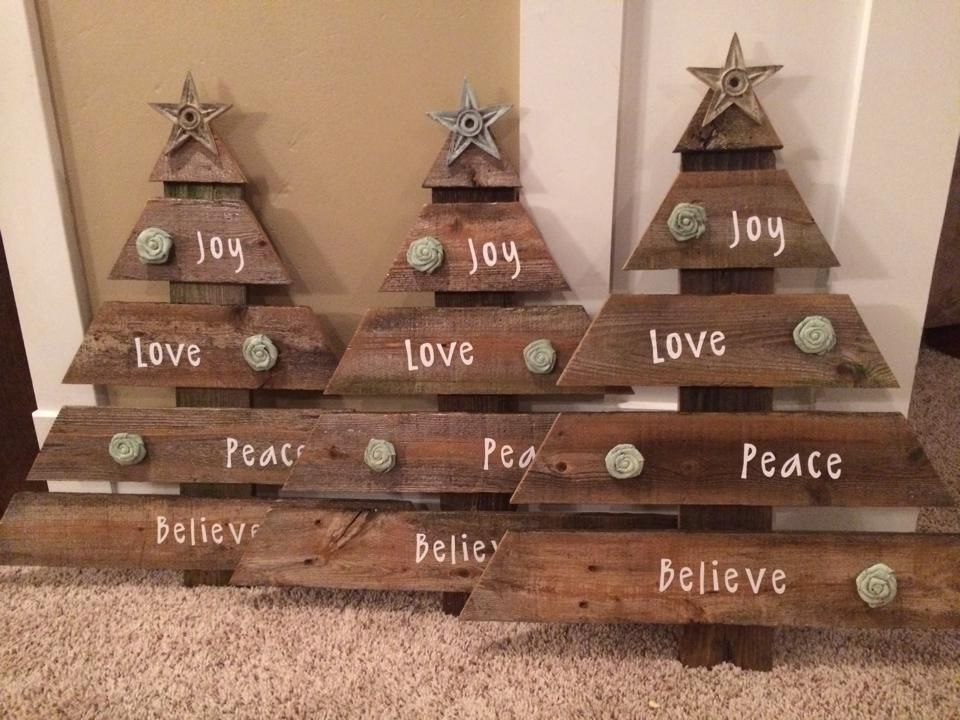 Christmas trees made from old barn wood