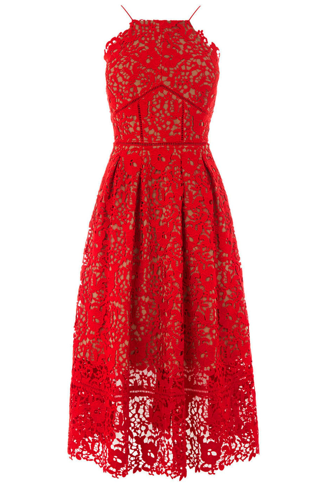 0526feaf77 Warehouse Lace Halter Dress, £165. Love this lace halter dress - the red is  perfect for a patriotic summer wedding
