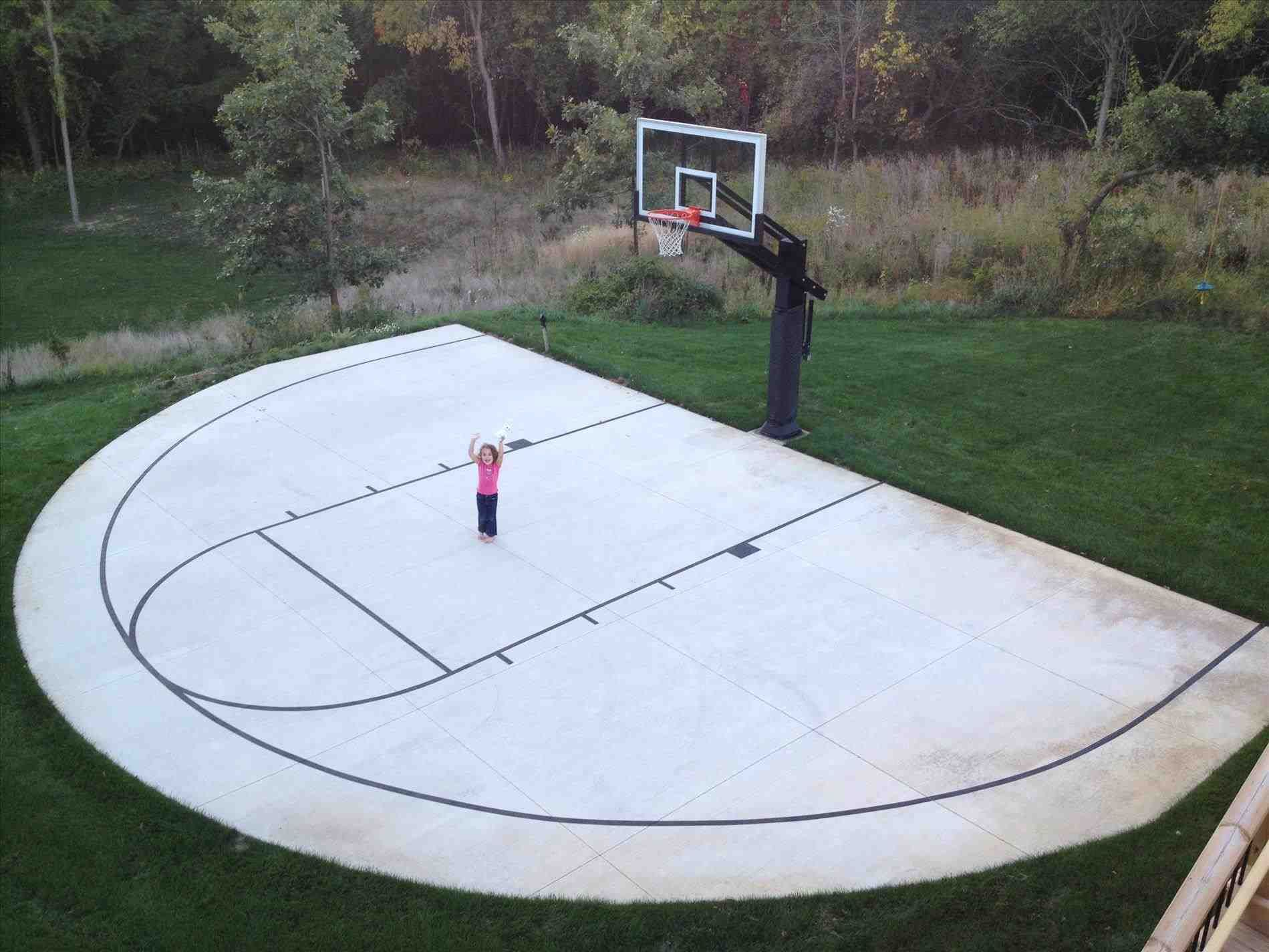 Half Basketball Court In Backyard Uniquely Shaped Court Allows For