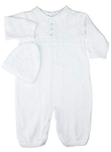 Feltman Brothers Unisex White Knit Romper Hat Set Take Home Outfit 9M